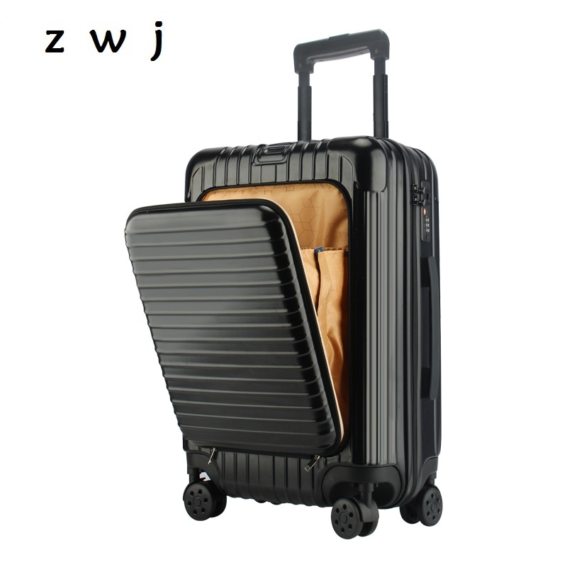 PC Front Opening Travel Suitcase Computer Rolling Luggage with Laptop bag Trolley Travel Suitcase