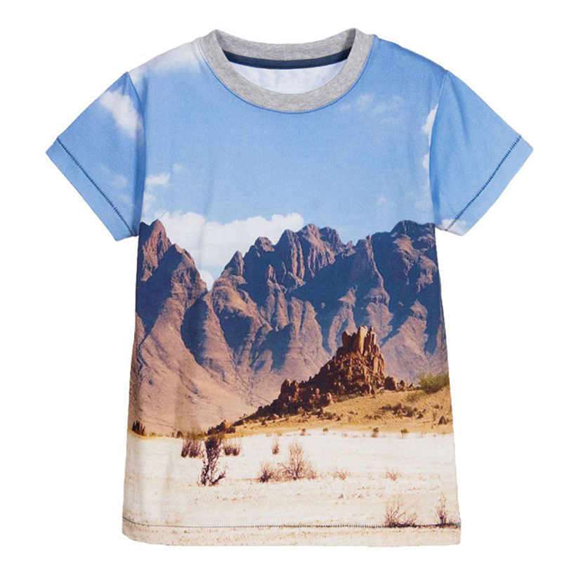 T-Shirts For Boys Summer Cotton Kids Top Print Short Sleeve Toddler Clothes 3D Mountain Police Car Boys T-Shirt Children Clothes