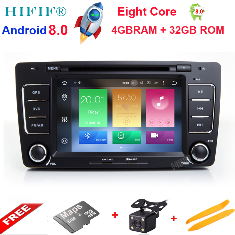 HIFIF 2 Din Car DVD GPS For Skoda Octavia 2012 2013 A 5 A5 Yeti Fabia Car Android 8.0 8 Core 4GB RAM Stereo Radio Navigation shining wheat genuine leather steering wheel cover for skoda octavia superb 2012 fabia skoda octavia a 5 a5 2012 2013 yeti