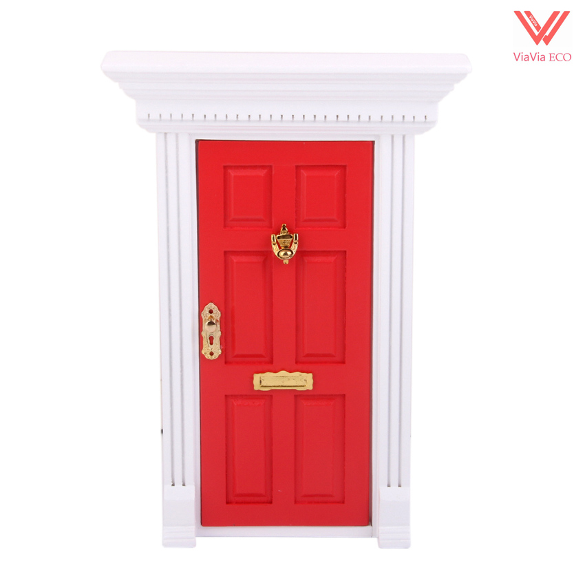 oMoToys 1:12 Dollhouse Miniature Luxury Wooden Red Exterior Door 6 Panel with Key and Mail Trailer