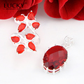 Lucky Mall 2017 New Arrival Charm Fire Red Garnet (Rings & Pendant) Sets Jewelry For Women Wedding Party Bijoux Gift