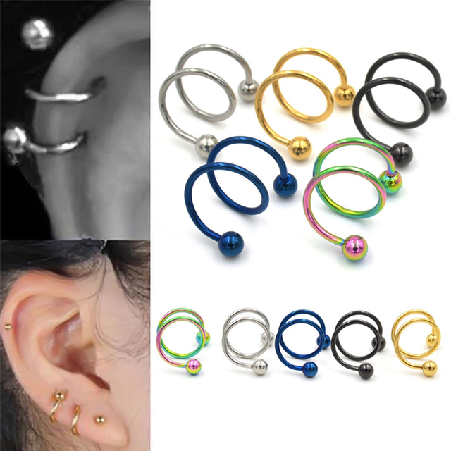 5 Colors Gauge 18g Ball Surgical Steel Double Spiral Twister Barbell Earring Ear Cartilage Rings Tragus