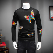 Quality Men Sweater2016 Winter Thicken Pull Homme Fashion Butterfly Print Pullover Men Round Collar Slim Fit Casual Men Jumpers