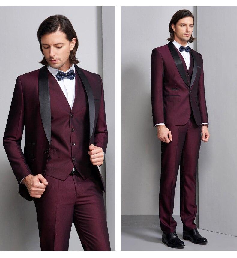Новинка, итальянский стиль, смокинги для жениха на заказ, облегающие костюмы для жениха, Черная шаль с отворотом, 3 предмета, мужские свадебные костюмы для выпускного вечера - 3