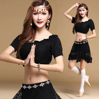 Sexy Lace Belly Oriental Dance Bellydance Costumes Set For Women Indian Eastern Belly Dancing Clothes Tops
