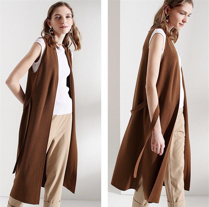 100% шерсть вязать женщин весна лето мода пояса длинный кардиган, свитер пальто без рукавов M/38 L/40