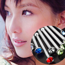 Hot 1PC Stainless Steel Random Colour Crystal Shiny Nose/Ear Piercing Jewelry Fashion Jewelry
