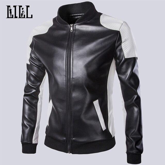 Новый 2016 Весна Мужчины Мода Куртки Мотоцикла Осень Мужчина Случайно Пальто Бомбардировщик Куртка Мужская Кожаные Куртки Для Продажи 5XL, UMA297