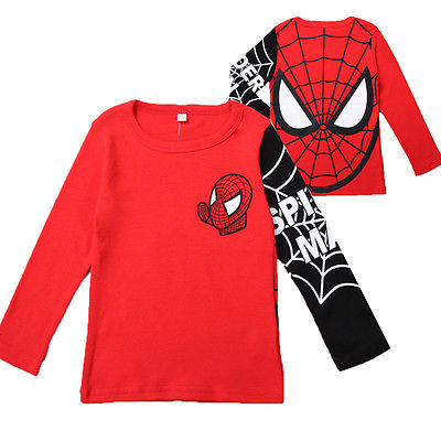 Kids Boys Superhero Spiderman Autumn Holiday Party Tops T Shirts Long Sleeve Tee