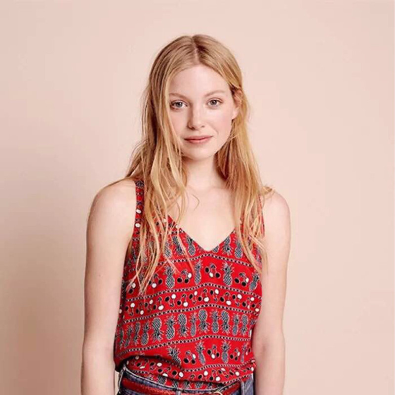 Women Red Pineapple Print Sweet   Tank     Tops   Sleeveless Soft Viscose Summer   Top