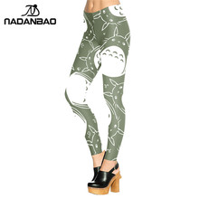 Neighbor Totoro Design Legins Green And White Fitness Leggins Printed Women Leggings KDK1516