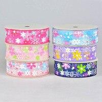 Christmas Ribbons Festive Decoration Ribbons Manual DIY Hair Material Snow Yarn Printing With Gift Packaging AZ11
