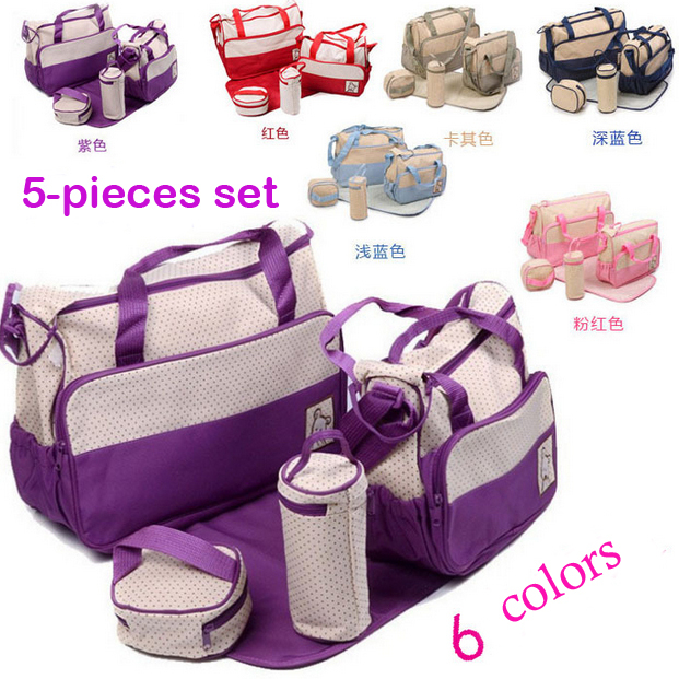 6 Colors 5PCS/Kit 2014 New Fashion High Quality Tote Baby Products Maternity Shoulder Durable Diaper Bags Nappy Mummy Bags пюре hipp брокколи с 4 мес 80 гр