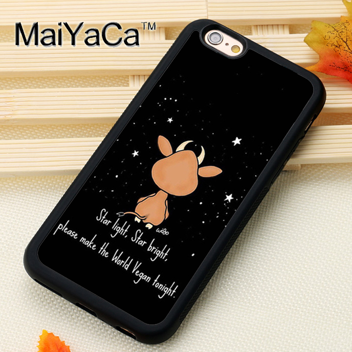 MaiYaCa Brown Cow Asking World Vegan Night Phone Cases Accessories For iPhone 7