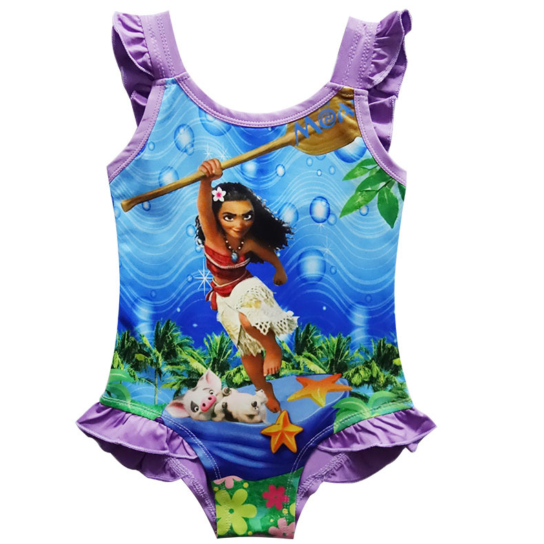 551fcce3f10 [HOT DEAL] US $7.68 for 2018 New Moana Beach trolls Girls dress vaiana  Bikini one piece Swim Bow wear Kids Vampirina Children dress Swimsuits 4-9  Year