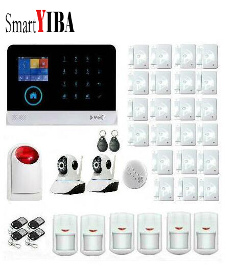 SmartYIBA App control 3G WCDMA alarm system For Home Security WIFI GPRS Alarm Kits With Network Camera Smoke Sensor SMS Alarmes