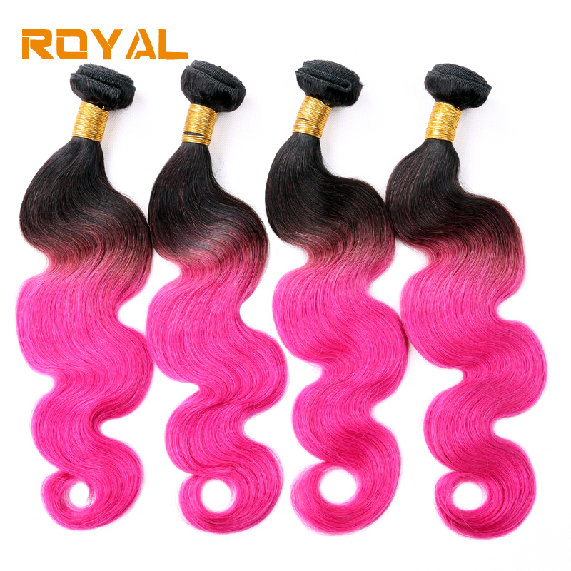 Ombre Malaysian Hair 1B/Pink Body Wave Human Hair Bundles 4 Bundles Royal Hair Weft Non  ...
