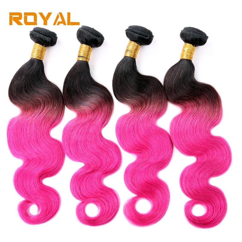 Ombre Malaysian Hair 1B/Pink Body Wave Human Hair Bundles 4 Bundles Royal Hair Weft Non  ...
