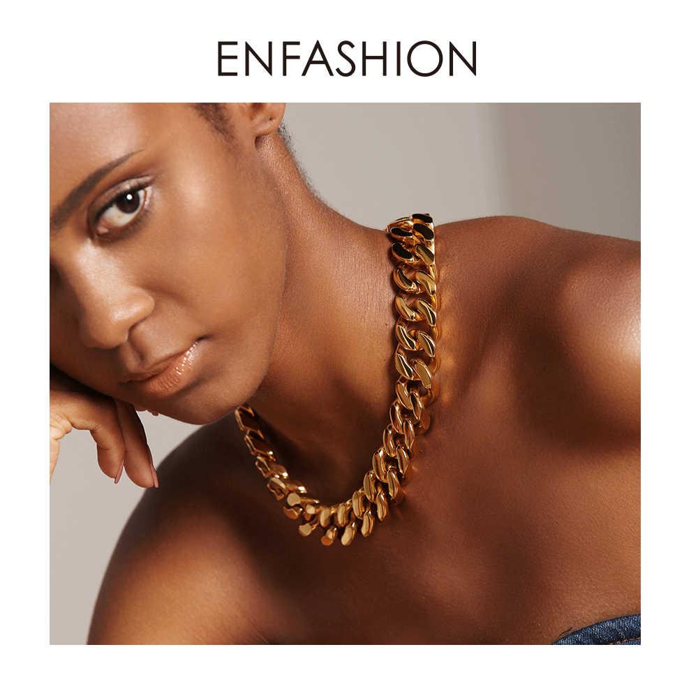 Enfashion duży silny Link Chain Chokers naszyjnik kobiet złoty kolor ze stali nierdzewnej oświadczenie naszyjniki naszyjnik mężczyzn biżuteria PM3014