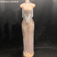 Для женщин пикантная обувь для ночного клуба сцены платье с кисточками чистой пряжи полный сверкающими кристаллами платье Fashion Show для ночно