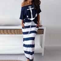 Комплект из двух предметов: футболка с принтом якоря и юбка в полоску; комплект с юбкой до щиколотки; женская модная повседневная одежда; пов...