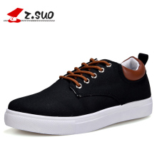 2018 NYA Spring Män Casual Shoes Fashion Pustande Snörning Canvas Skor Plana Skor Män Stor Storlek 39-47 Zapatos Hombre Black