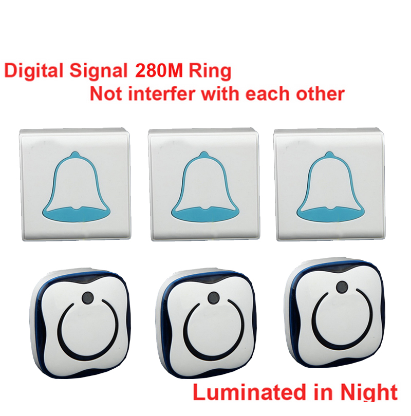 280M & 5 wall work 3 emitters+3 receivers bell wireless doorbell Waterproof wireless door chime,wireless bell,music door bell280M & 5 wall work 3 emitters+3 receivers bell wireless doorbell Waterproof wireless door chime,wireless bell,music door bell