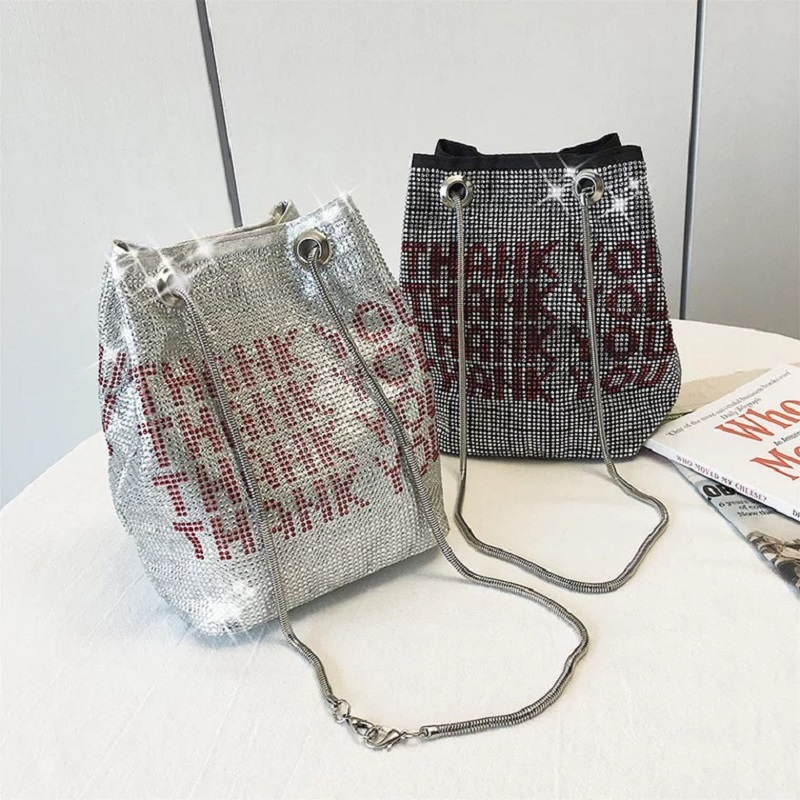 Thank You Sequins Women Tote Crossbody Bags Crystal Bling Fashion Lady Bucket Handbags Fashion Girls Glitter Big Shoulder Bags