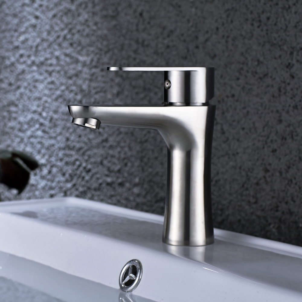 Stainless Steel Bathroom Sink Faucet Single Hole Brushed Nickel ...