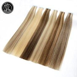 Cinta en la extensión del pelo humano 100% trama de la piel humana europea Real Remy en extensiones de pelo liso 16 18 20 2 g/unidad 40 g/paquete