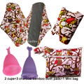 Owl Print Charcoal Bamboo Mama Cloth Sanitary Pads Reusable Menstrual Pads Soft Silicone Menstrual Cups