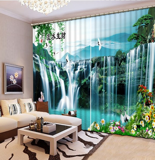 Beautiful Photo Luxury European Modern nature scenery 3d curtain ...