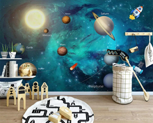 цена на beibehang Custom wallpaper hand-painted space universe children's room background wall painting home decoration 3d wallpaper