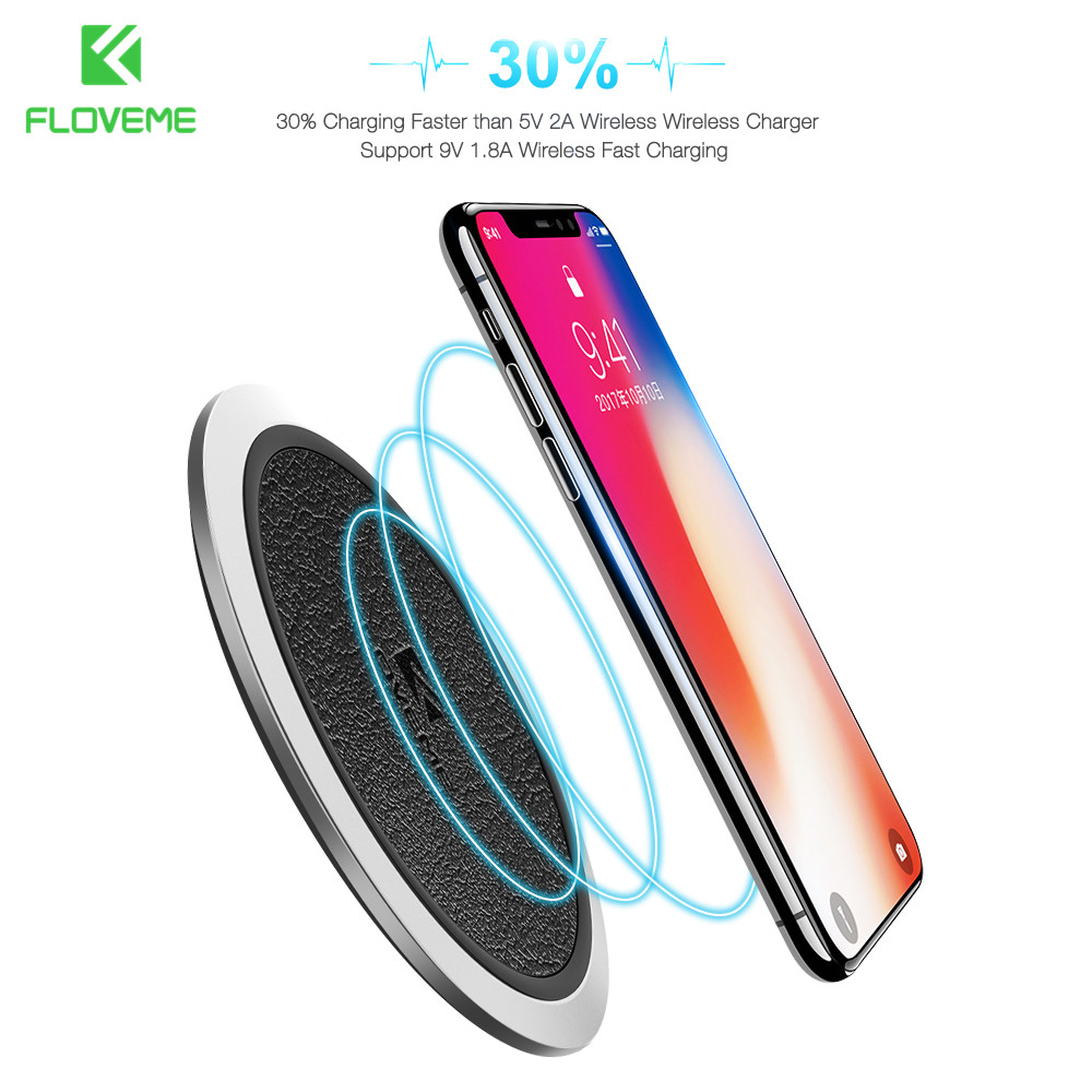 Qi Wireless Charger FLOVEME Original Leather Wireless Charger Charging Pad For Samsung S8 Plus S7 edge Note 8 For iPhone...  samsung s8 charger | Time to Charge: Samsung Galaxy S8 Qi Wireless font b Charger b font FLOVEME Original Leather Wireless font b Charger b font