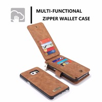 Genuine Leather Removable Wallet Back Case Cover For Samsung 1 Zipper Compartment Multi Functional Wallet Case