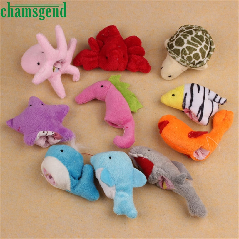Hot Puppet 10Pcs Ocean Soft Animal Puppet Baby Girl Boy Finger Toys Plush Toy SEP 01