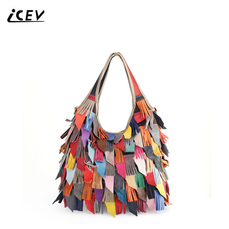 ICEV New Simple Genuine Leather Handbags Tassel Cowhide Women Leather Handbags High Quality Ladies Big Totes Top Handle Bag Sac icev new brands simple classic female cow leather designer handbags high quality genuine leather handbags women leather handbags