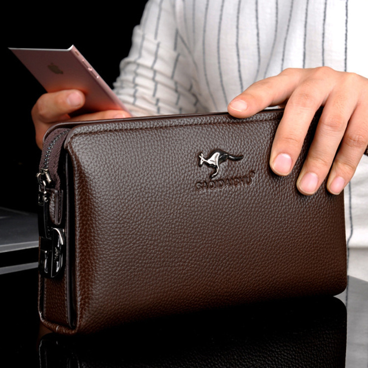 Male Wallet Clutch-Bag Mobile-Phone-Bag Anti-Theft-Password Mens Leather Genuine Business title=
