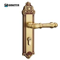 Barato Cerradura para puerta de madera sólida de cobre puro de lujo cerradura de manija antigua silenciosa
