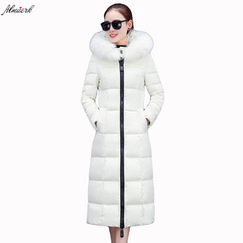 2017new winter women cotton jacket hooded fur collar slim thicken parkas long section solid color warm female cotton jacket L145