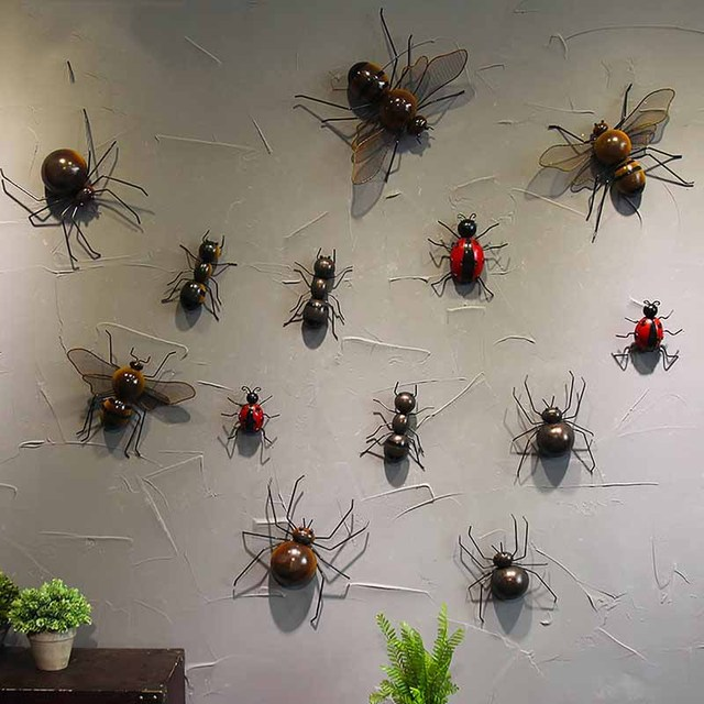 Retro simulation wrought iron insect cute little animal wall decoration Kindergarten home Internet cafe restaurant clothing