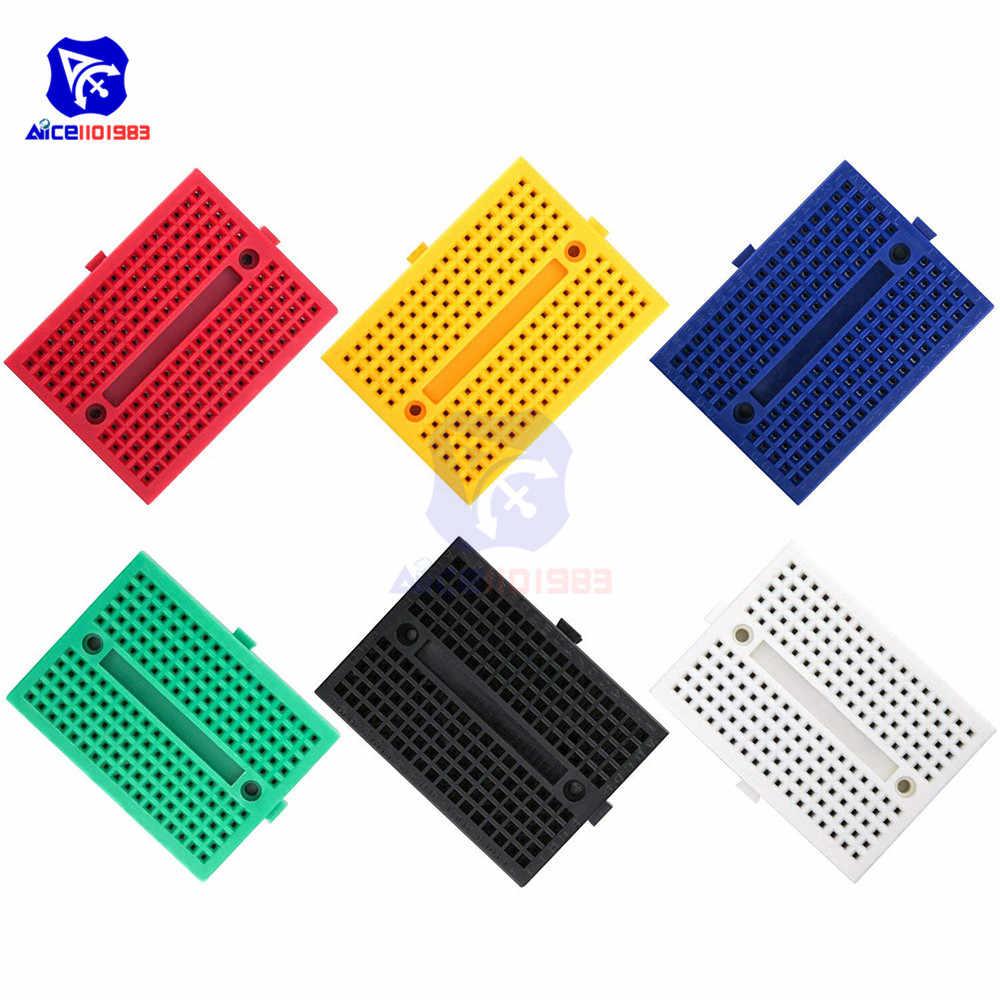 1 pièce 6 valeur de couleur 170 Points d'attache Mini planche à pain avec trous de couture collante pour Arduino Prototype Shield