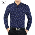 2016 men's clothing autumn new long-sleeved shirt male middle-aged men dad fitted  Casual High Quality printing business shirts