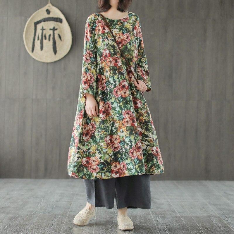 f5ce39a2e3 Floreale In Cotone Print Stile A Vestiti 2019 Lunghe Allentato O ...