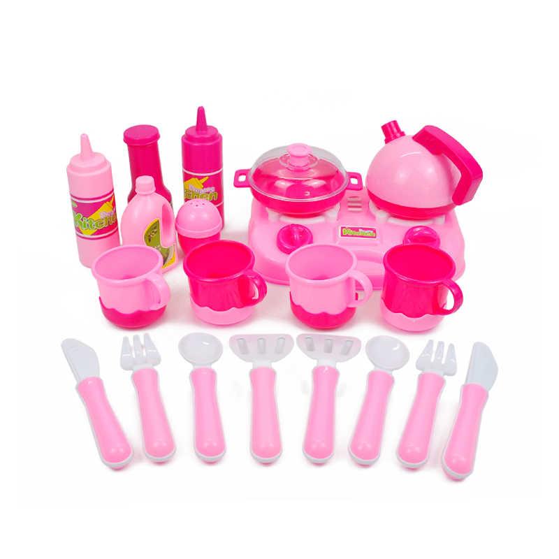 46 шт./компл. детские игрушки для кухни пластиковые овощи и фрукты еда чашки чая Посуда для девочек и мальчиков кухонные товары ролевые игры игрушка для игры в повара