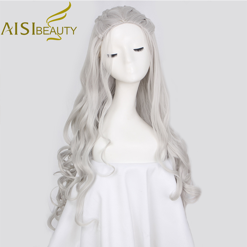 AISI BEAUTY Long Wavy Grey Golden Cosplay Synthetic Wigs Hair For Women Dragon Of Mother Costume Wigs High Resistant