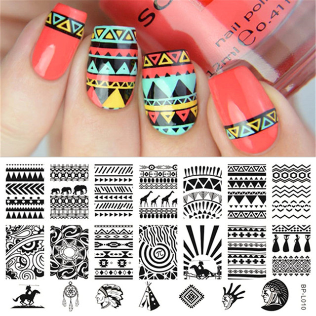 BORN PRETTY Nail Stamping Plate Pyramid Flower Number Cartoon Round ...