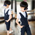 Boys Vest+Short Pants Formal Suits for Weddings 2-12y Kids Single Breasted Outfit Clothing Children Party Suits for Summer EB069