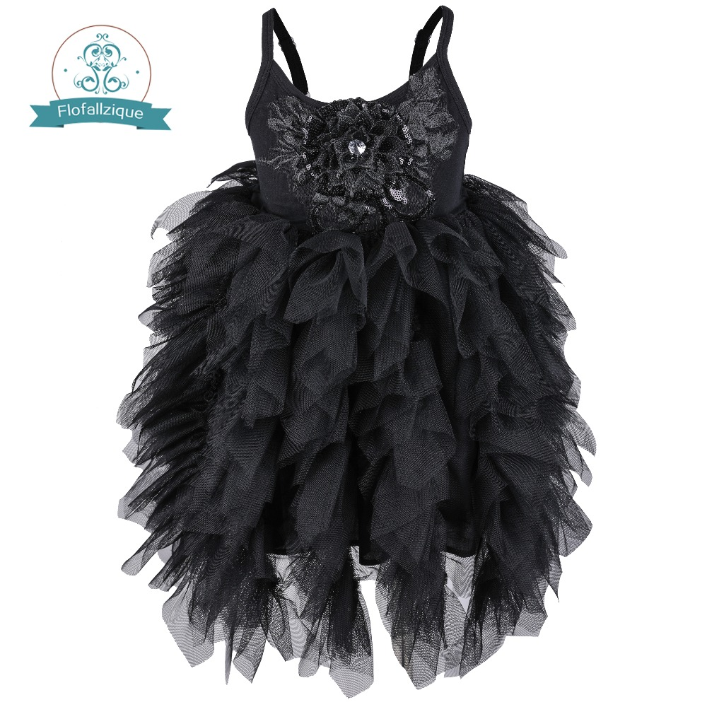 Flofallzique black baby girl dress sleeveless kids clothes wedding party princess tutu sashes frock for children 1-8Year day dress