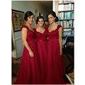 Nueva Moda 2017 Playa Royal Empire Partido Rojo de la Boda Vestidos de Sheer Volver Con Apliques Lavanda dama de Honor Largo Vestidos